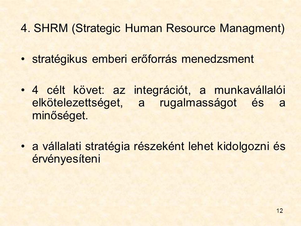 12 4. SHRM (Strategic Human Resource Managment) stratégikus emberi erőforrás menedzsment 4 célt követ: az integrációt, a munkavállalói elkötelezettség