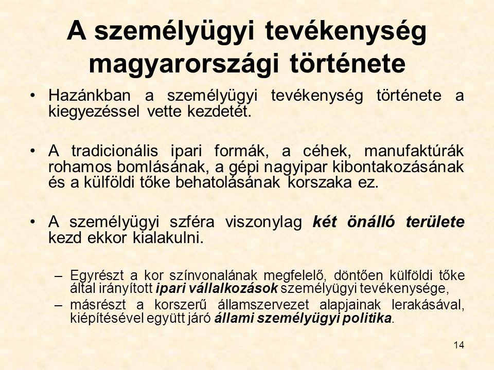14 A személyügyi tevékenység magyarországi története Hazánkban a személyügyi tevékenység története a kiegyezéssel vette kezdetét. A tradicionális ipar