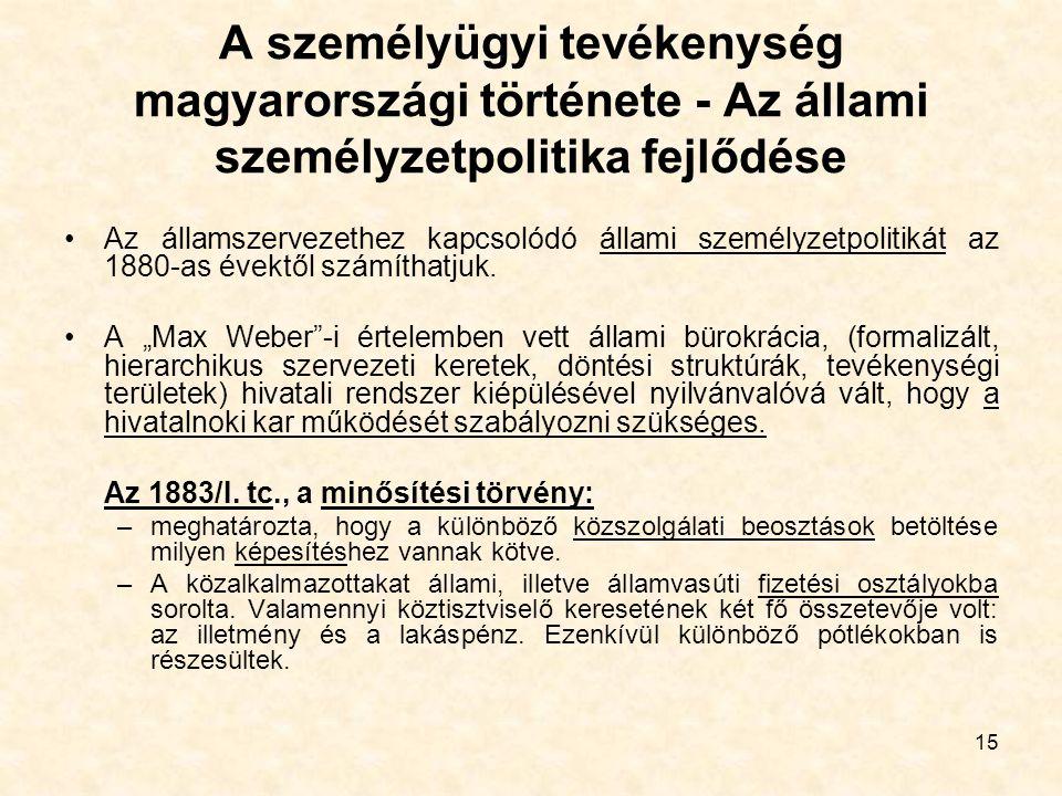 15 A személyügyi tevékenység magyarországi története - Az állami személyzetpolitika fejlődése Az államszervezethez kapcsolódó állami személyzetpolitik