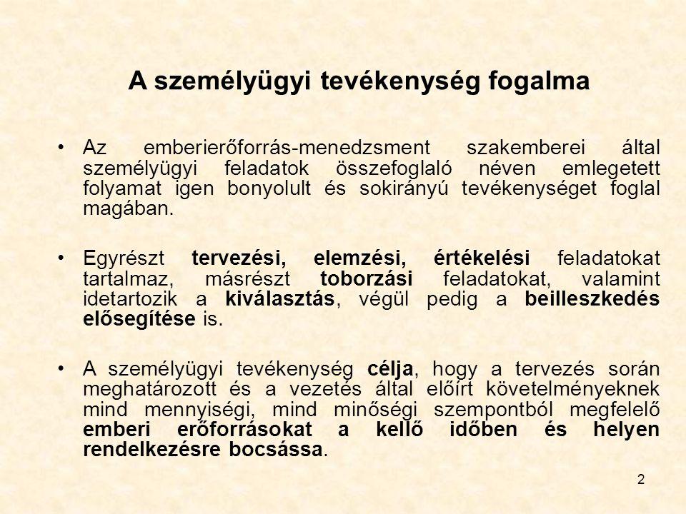 2 A személyügyi tevékenység fogalma Az emberierőforrás-menedzsment szakemberei által személyügyi feladatok összefoglaló néven emlegetett folyamat igen