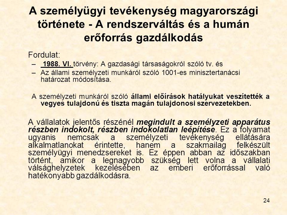 24 A személyügyi tevékenység magyarországi története - A rendszerváltás és a humán erőforrás gazdálkodás Fordulat: – 1988. VI. törvény: A gazdasági tá