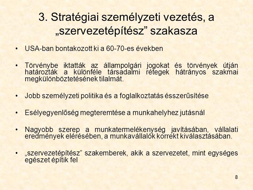 """8 3. Stratégiai személyzeti vezetés, a """"szervezetépítész"""" szakasza USA-ban bontakozott ki a 60-70-es években Törvénybe iktatták az állampolgári jogoka"""
