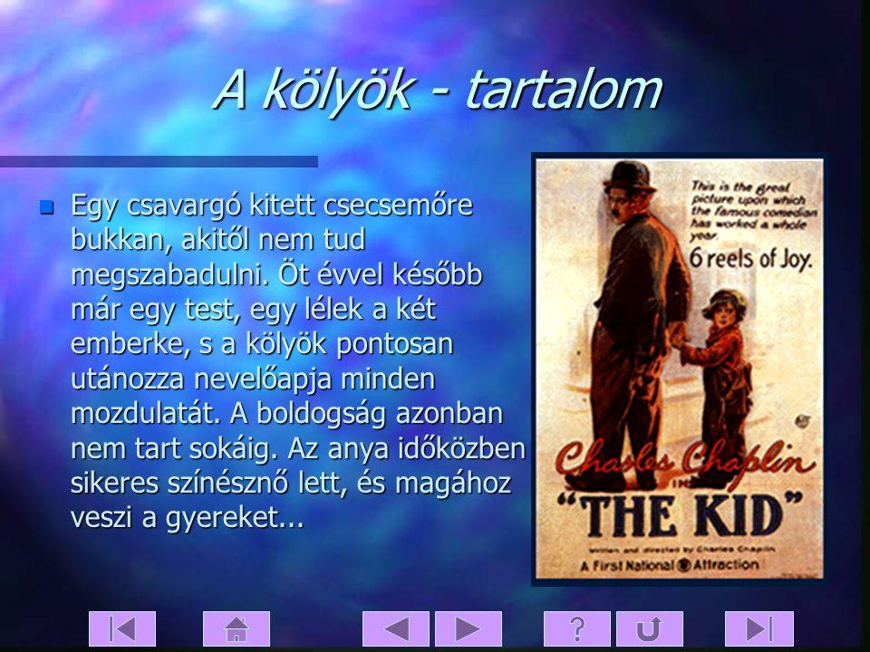 A kölyök n Eredeti cím: The Kid n Bemutató: 1921.02.06. n Filmstúdió: First National n Rendezte: Charles Chaplin n Forgatókönyv: Charles Chaplin n Fén