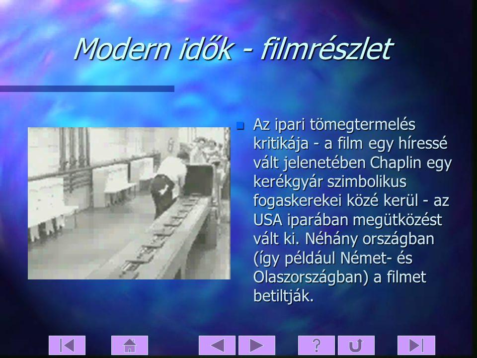 Modern idők - tartalom n Chaplin olyan gyári munkást alakít, akinek főnöke a munkaintenzitást a legmodernebb eszközökkel akarja növelni. Chaplin bedil