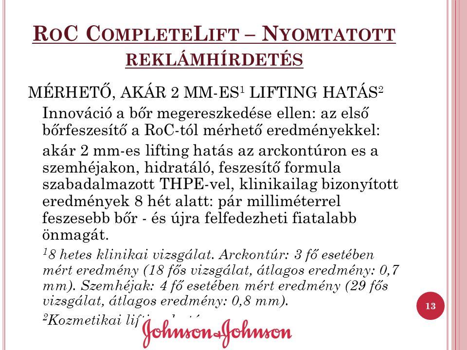R O C C OMPLETE L IFT – N YOMTATOTT REKLÁMHÍRDETÉS MÉRHETŐ, AKÁR 2 MM-ES 1 LIFTING HATÁS 2 Innováció a bőr megereszkedése ellen: az első bőrfeszesítő