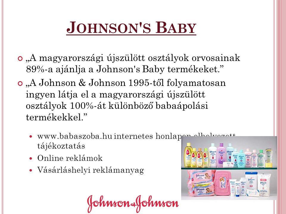 """J OHNSON ' S B ABY """"A magyarországi újszülött osztályok orvosainak 89%-a ajánlja a Johnson's Baby termékeket."""" """"A Johnson & Johnson 1995-től folyamato"""