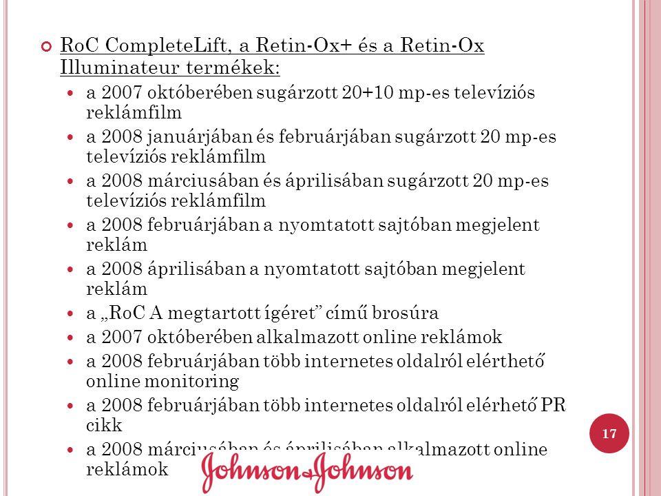 RoC CompleteLift, a Retin-Ox+ és a Retin-Ox Illuminateur termékek: a 2007 októberében sugárzott 20+10 mp-es televíziós reklámfilm a 2008 januárjában é