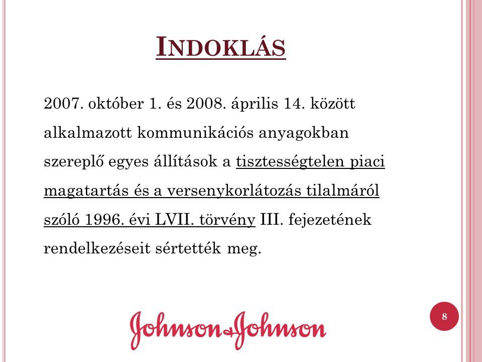 I NDOKLÁS 2007. október 1. és 2008. április 14. között alkalmazott kommunikációs anyagokban szereplő egyes állítások a tisztességtelen piaci magatartá