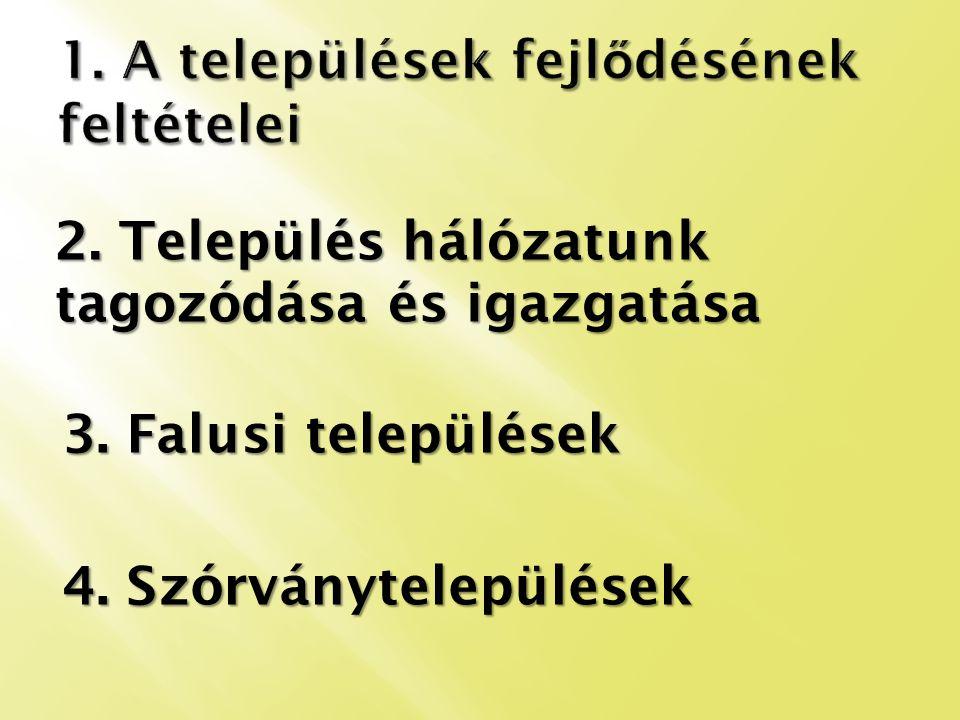 2. Település hálózatunk tagozódása és igazgatása 3. Falusi települések 4. Szórványtelepülések