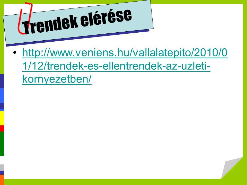 Trendek elérése http://www.veniens.hu/vallalatepito/2010/0 1/12/trendek-es-ellentrendek-az-uzleti- kornyezetben/http://www.veniens.hu/vallalatepito/20