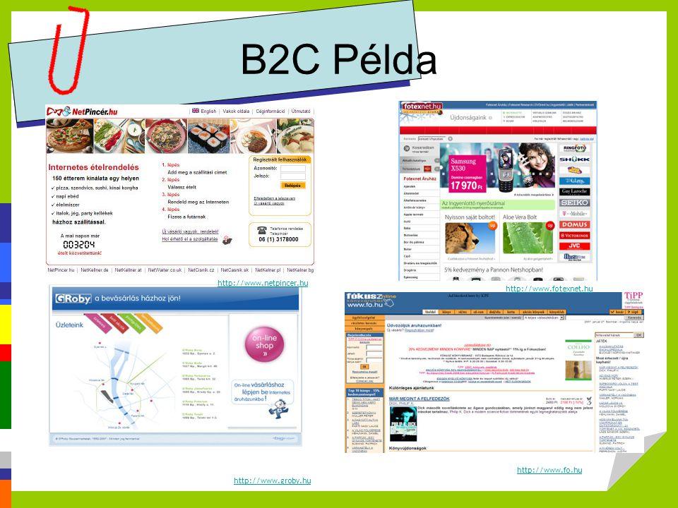 B2C Példa http://www.fotexnet.hu http://www.fo.hu http://www.netpincer.hu http://www.groby.hu