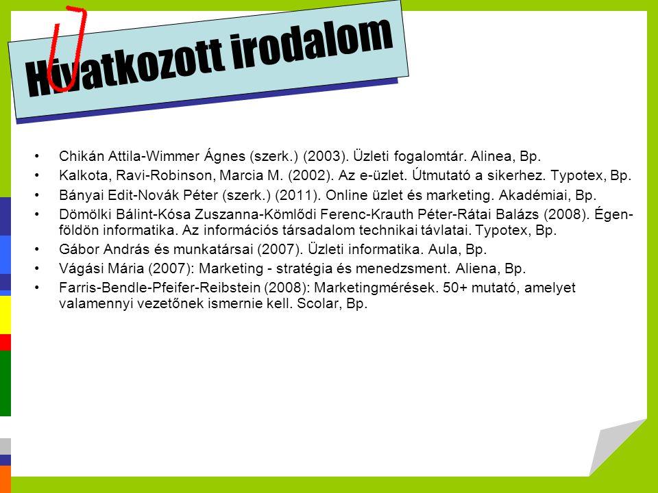 Hivatkozott irodalom Chikán Attila-Wimmer Ágnes (szerk.) (2003). Üzleti fogalomtár. Alinea, Bp. Kalkota, Ravi-Robinson, Marcia M. (2002). Az e-üzlet.