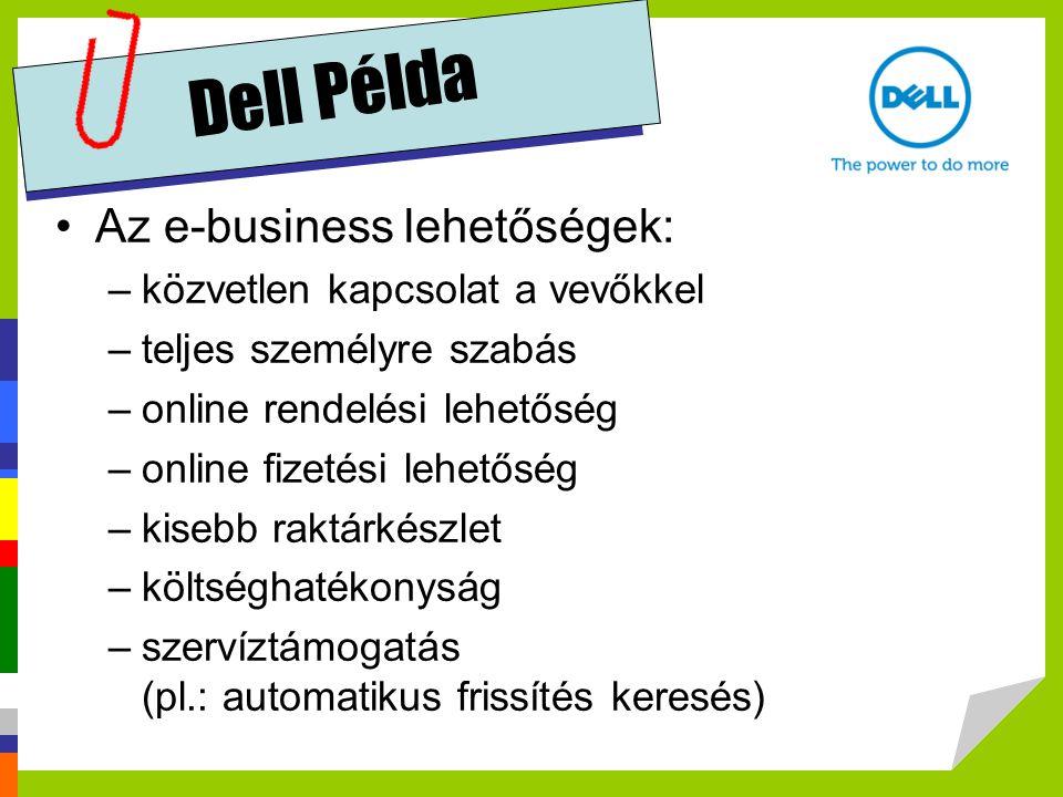 Dell Példa Az e-business lehetőségek: –közvetlen kapcsolat a vevőkkel –teljes személyre szabás –online rendelési lehetőség –online fizetési lehetőség