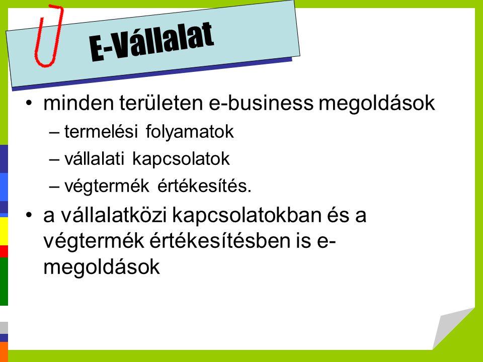 E-Vállalat minden területen e-business megoldások –termelési folyamatok –vállalati kapcsolatok –végtermék értékesítés. a vállalatközi kapcsolatokban é