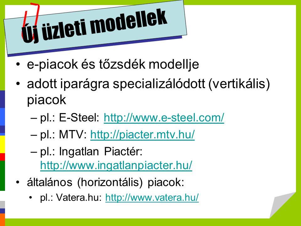 Új üzleti modellek e-piacok és tőzsdék modellje adott iparágra specializálódott (vertikális) piacok –pl.: E-Steel: http://www.e-steel.com/http://www.e