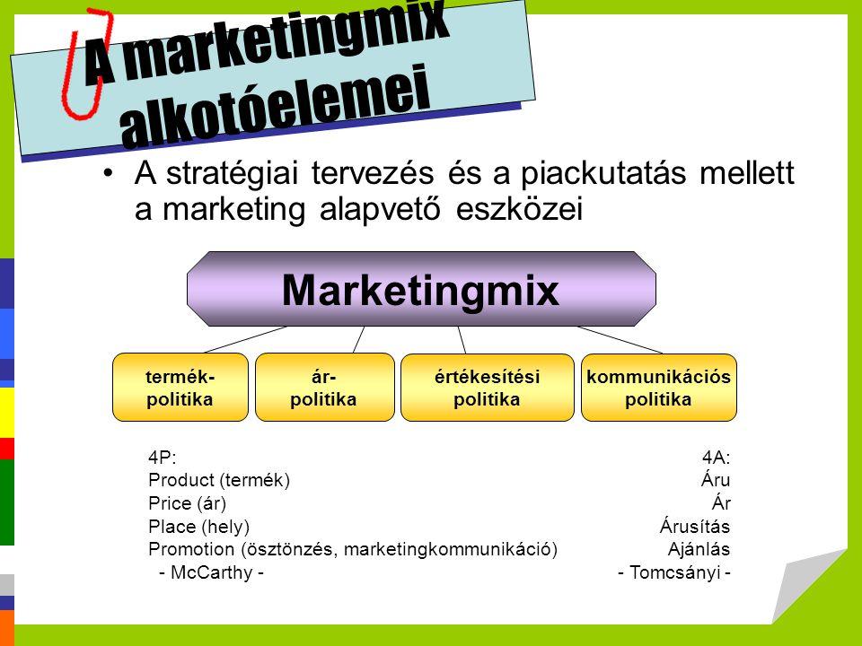 A marketingmix alkotóelemei A stratégiai tervezés és a piackutatás mellett a marketing alapvető eszközei 4P: Product (termék) Price (ár) Place (hely)
