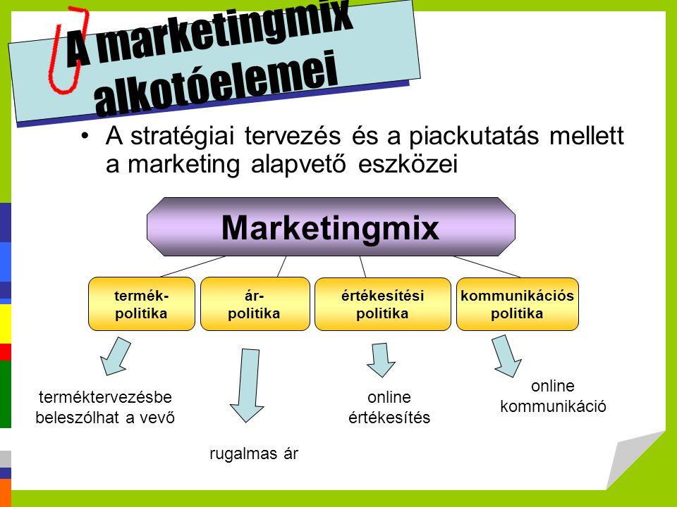 A marketingmix alkotóelemei A stratégiai tervezés és a piackutatás mellett a marketing alapvető eszközei Marketingmix termék- politika ár- politika ér