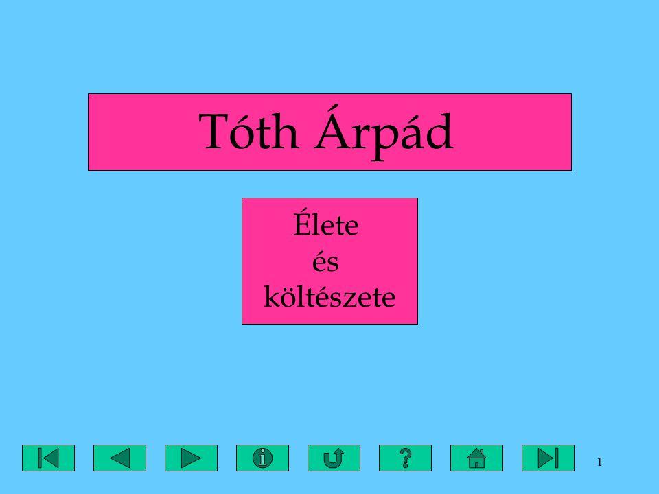 22 V.ÖSSZEFOGLALÁS Tóth Árpád 1886-ban született Aradon, Tóth András szobrász fiaként.