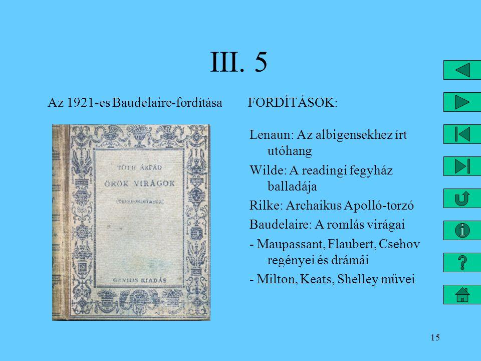 15 III. 5 Az 1921-es Baudelaire-fordítása FORDÍTÁSOK: Lenaun: Az albigensekhez írt utóhang Wilde: A readingi fegyház balladája Rilke: Archaikus Apolló