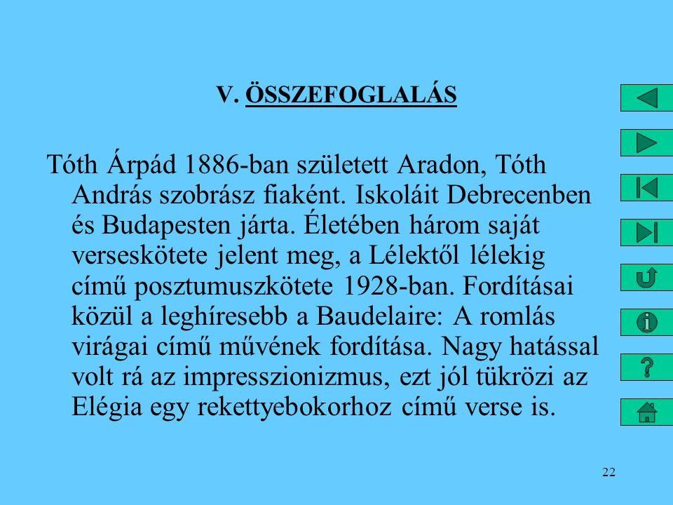 22 V. ÖSSZEFOGLALÁS Tóth Árpád 1886-ban született Aradon, Tóth András szobrász fiaként. Iskoláit Debrecenben és Budapesten járta. Életében három saját