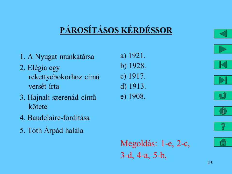 25 PÁROSÍTÁSOS KÉRDÉSSOR 1.A Nyugat munkatársa 2.