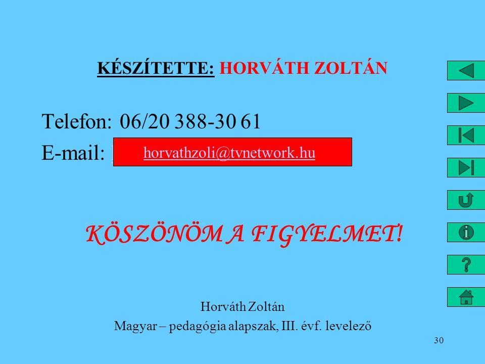 30 KÉSZÍTETTE: HORVÁTH ZOLTÁN Telefon: 06/20 388-30 61 E-mail: horvathzoli@tvnetwork.huhorvathzoli@tvnetwork.hu KÖSZÖNÖM A FIGYELMET! Horváth Zoltán M