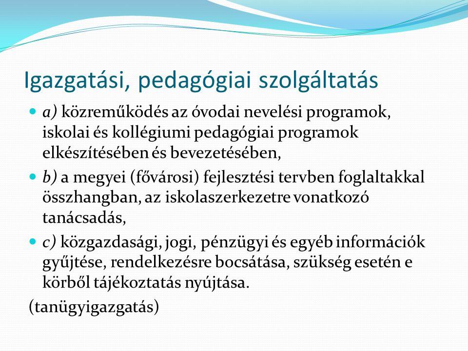 Igazgatási, pedagógiai szolgáltatás a) közreműködés az óvodai nevelési programok, iskolai és kollégiumi pedagógiai programok elkészítésében és bevezet