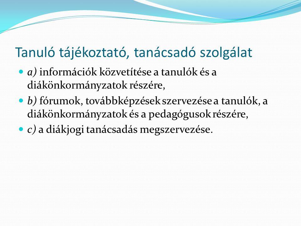 Tanuló tájékoztató, tanácsadó szolgálat a) információk közvetítése a tanulók és a diákönkormányzatok részére, b) fórumok, továbbképzések szervezése a