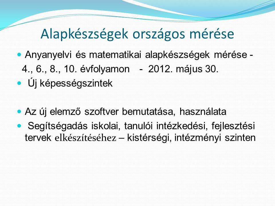 Alapkészségek országos mérése Anyanyelvi és matematikai alapkészségek mérése - 4., 6., 8., 10. évfolyamon - 2012. május 30. Új képességszintek Az új e