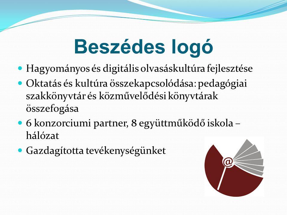 Beszédes logó Hagyományos és digitális olvasáskultúra fejlesztése Oktatás és kultúra összekapcsolódása: pedagógiai szakkönyvtár és közművelődési könyv
