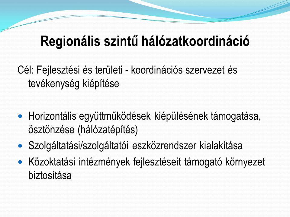 Regionális szintű hálózatkoordináció Cél: Fejlesztési és területi - koordinációs szervezet és tevékenység kiépítése Horizontális együttműködések kiépü