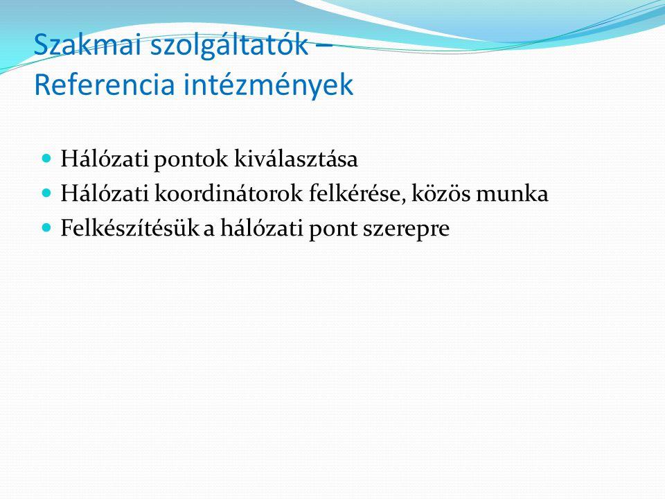Szakmai szolgáltatók – Referencia intézmények Hálózati pontok kiválasztása Hálózati koordinátorok felkérése, közös munka Felkészítésük a hálózati pont