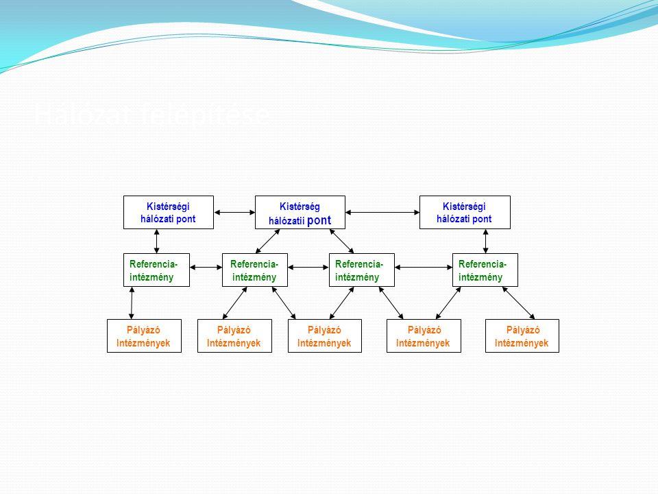 Hálózat felépítése Pályázó Intézmények Referencia- intézmény Kistérségi hálózati pont Kistérség hálózatii pont Referencia- intézmény Pályázó Intézmény