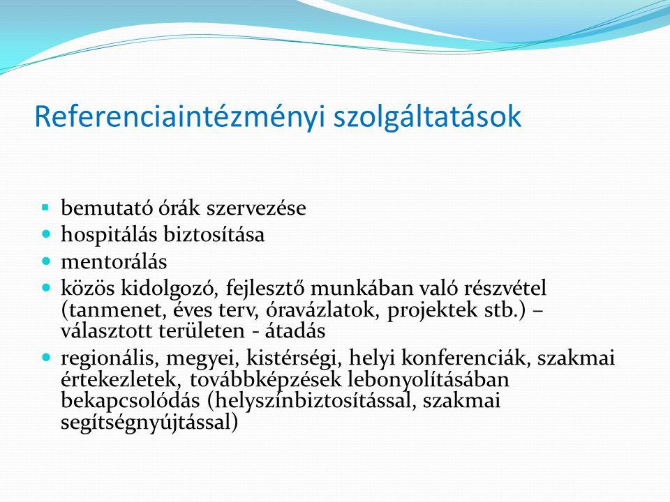 Referenciaintézményi szolgáltatások  bemutató órák szervezése hospitálás biztosítása mentorálás közös kidolgozó, fejlesztő munkában való részvétel (t
