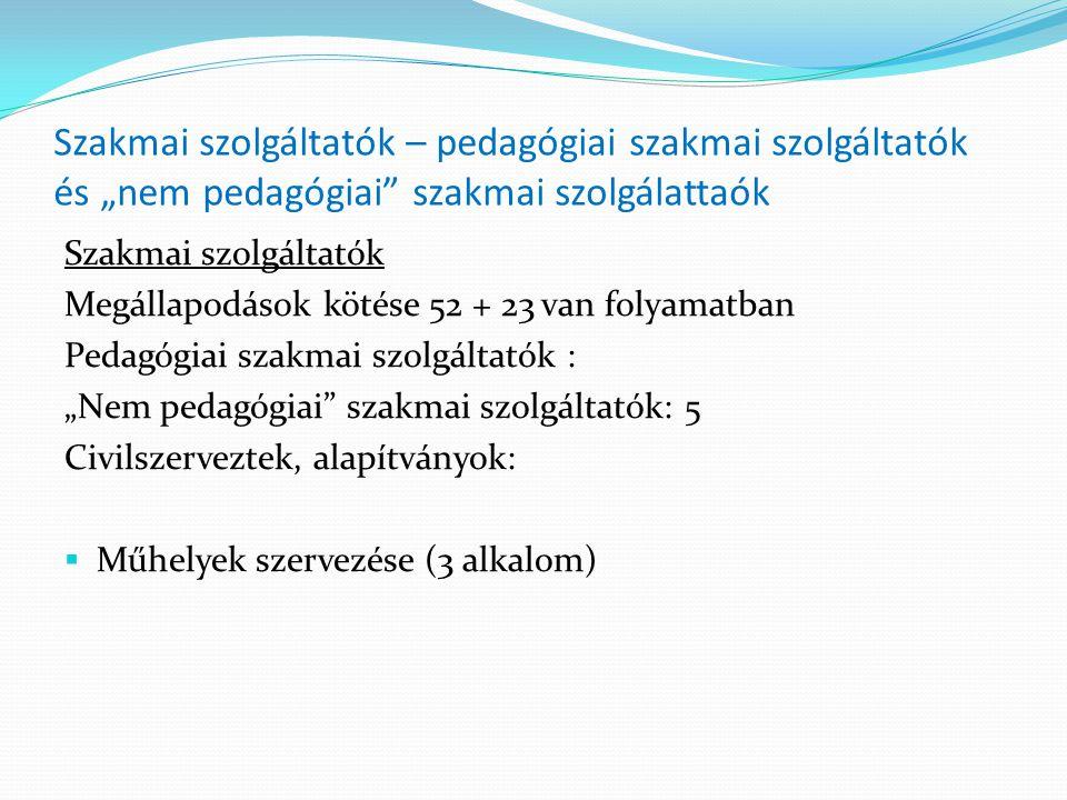 """Szakmai szolgáltatók – pedagógiai szakmai szolgáltatók és """"nem pedagógiai"""" szakmai szolgálattaók Szakmai szolgáltatók Megállapodások kötése 52 + 23 va"""