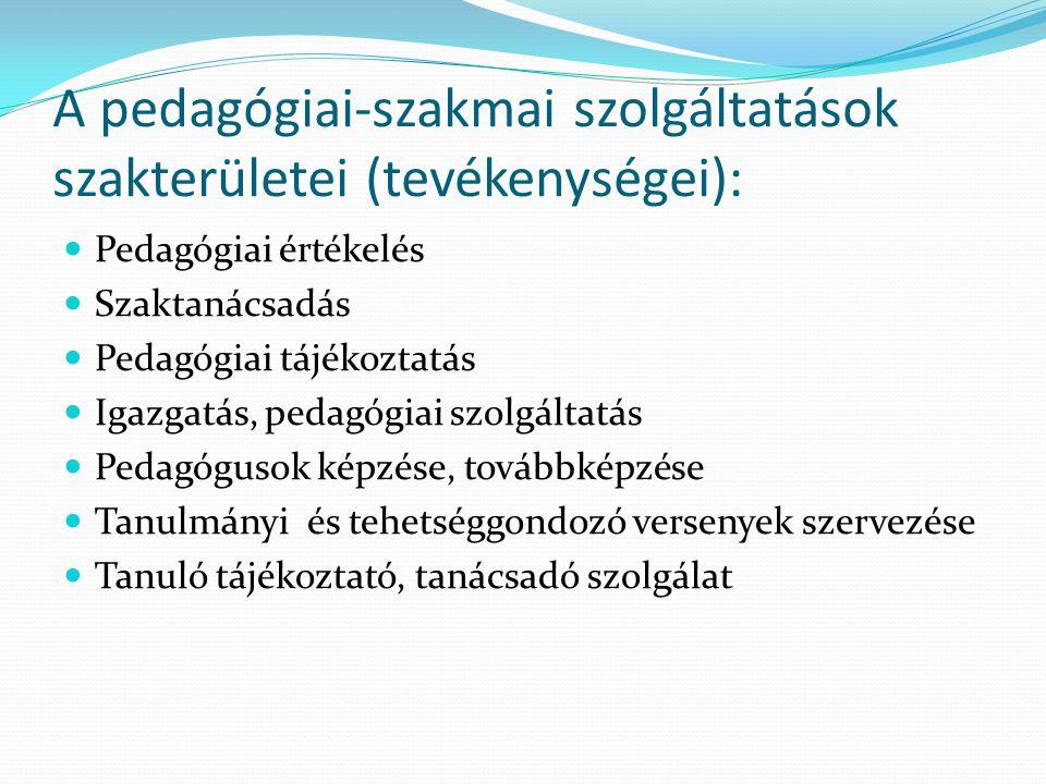 A pedagógiai-szakmai szolgáltatások szakterületei (tevékenységei): Pedagógiai értékelés Szaktanácsadás Pedagógiai tájékoztatás Igazgatás, pedagógiai s