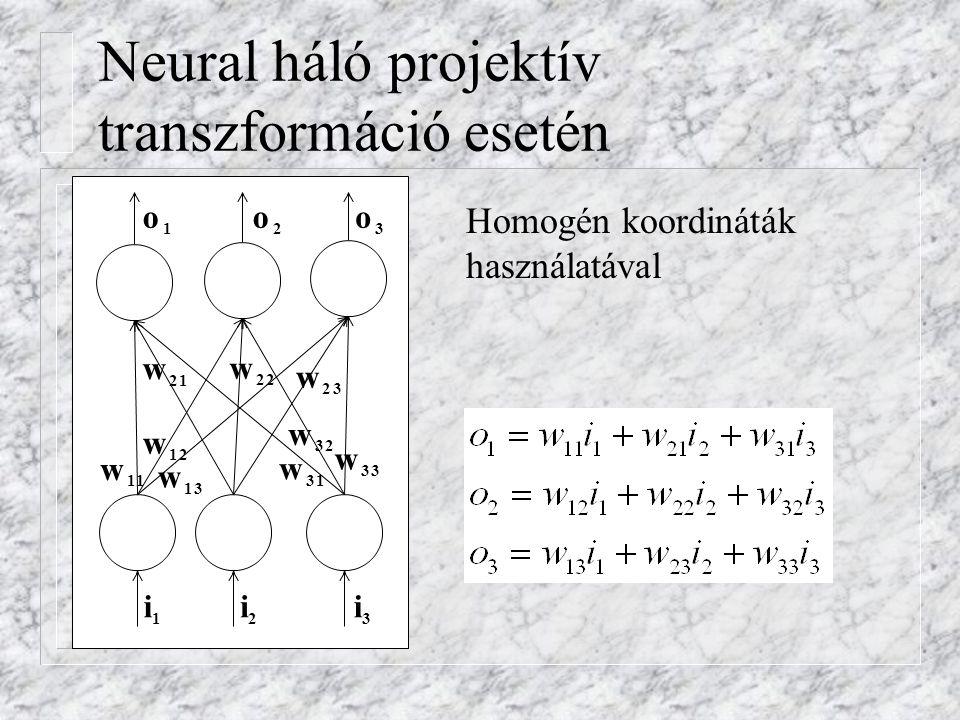 Neural háló projektív transzformáció esetén Homogén koordináták használatával i 1 i 2 i 3 w 11 w 12 w 13 w 21 w 22 w 23 w 31 w 32 w 33 o 2 o 3 o 1