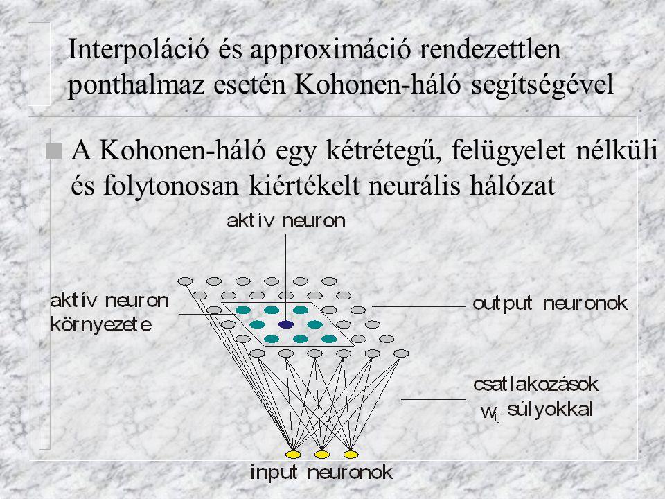 Interpoláció és approximáció rendezettlen ponthalmaz esetén Kohonen-háló segítségével n A Kohonen-háló egy kétrétegű, felügyelet nélküli és folytonosan kiértékelt neurális hálózat