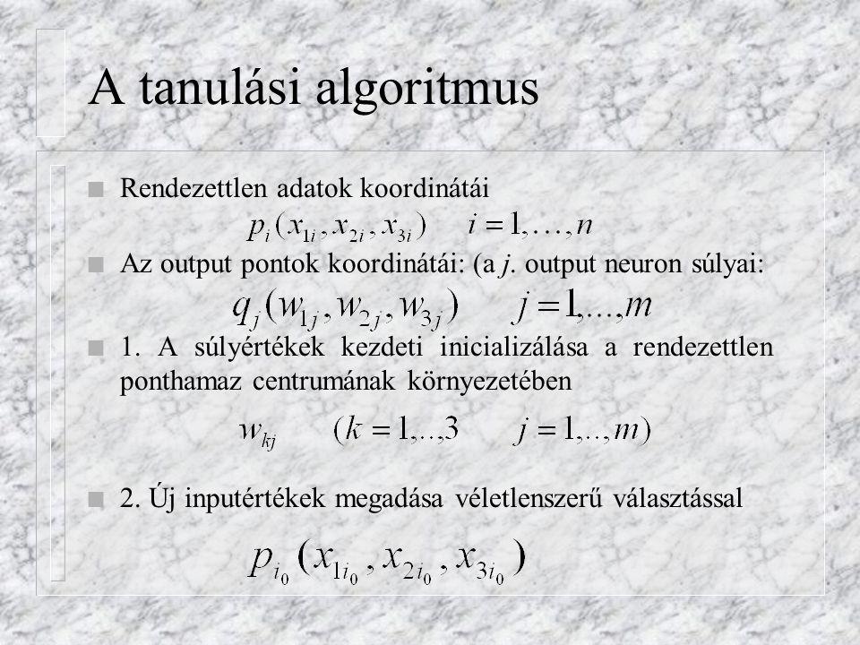 A tanulási algoritmus n Rendezettlen adatok koordinátái n Az output pontok koordinátái: (a j. output neuron súlyai: n 1. A súlyértékek kezdeti inicial