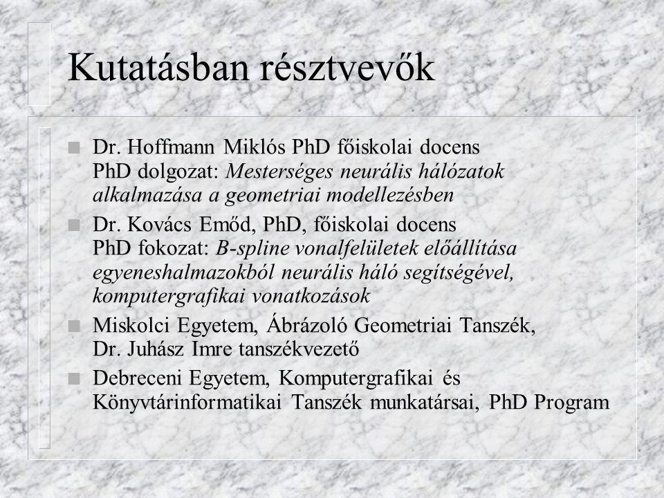 Kutatásban résztvevők n Dr. Hoffmann Miklós PhD főiskolai docens PhD dolgozat: Mesterséges neurális hálózatok alkalmazása a geometriai modellezésben n