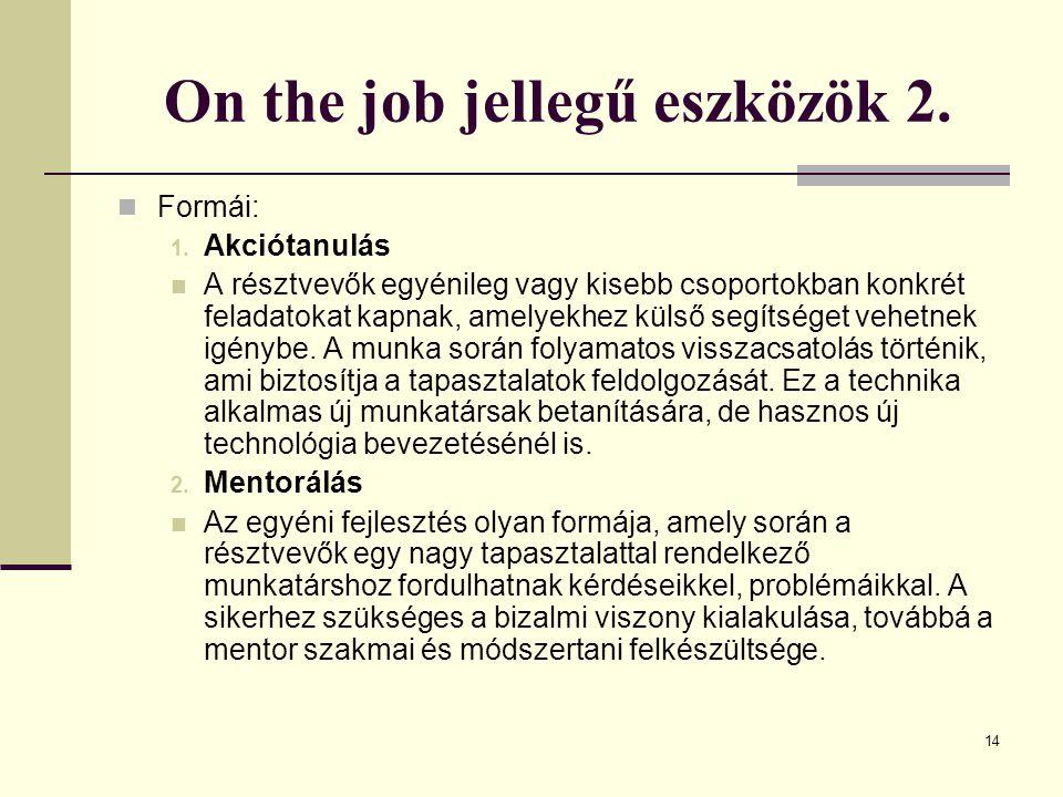 14 On the job jellegű eszközök 2.Formái: 1.