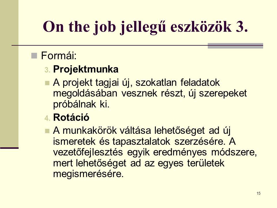 15 On the job jellegű eszközök 3.Formái: 3.