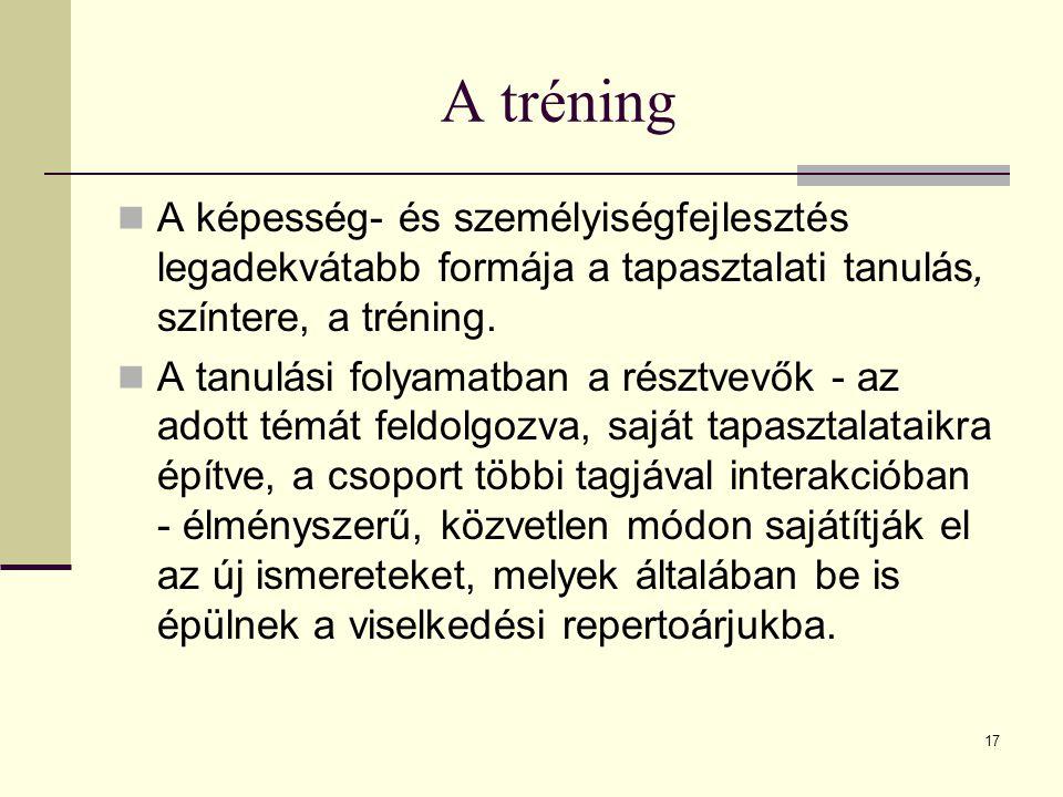 17 A tréning A képesség- és személyiségfejlesztés legadekvátabb formája a tapasztalati tanulás, színtere, a tréning.