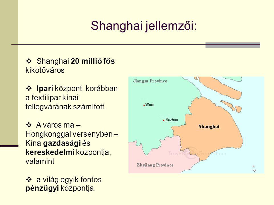 Shanghai jellemzői:  Shanghai 20 millió fős kikötőváros  Ipari központ, korábban a textilipar kínai fellegvárának számított.  A város ma – Hongkong