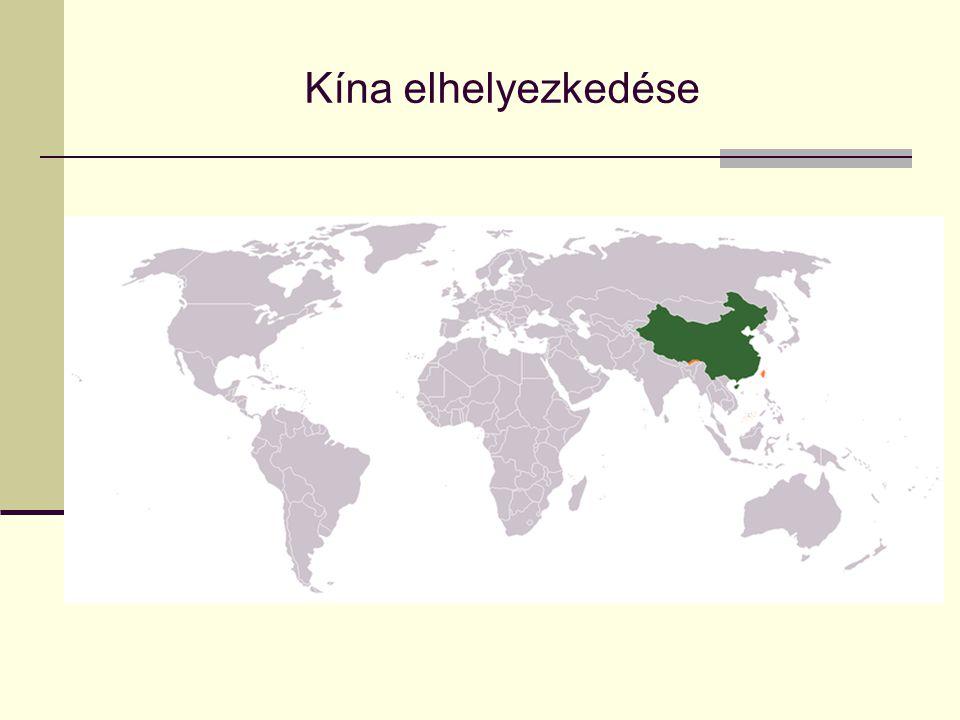 Mezőgazdaság  Nyugat-Kína: nomád állattenyésztés (juh, ló, teve, jak)  Kelet-Kína: rizs, tea, gyapot, dohány, déli gyümölcs  Kínai alföld: búza, kukorica, szója, köles, burgonya, földimogyoró, állattenyésztés