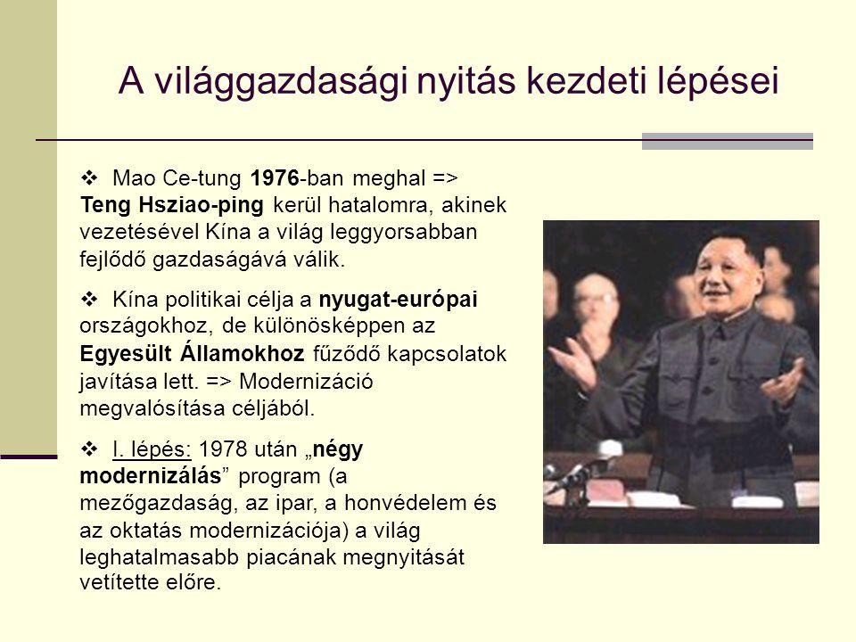 A világgazdasági nyitás kezdeti lépései  Mao Ce-tung 1976-ban meghal => Teng Hsziao-ping kerül hatalomra, akinek vezetésével Kína a világ leggyorsabb