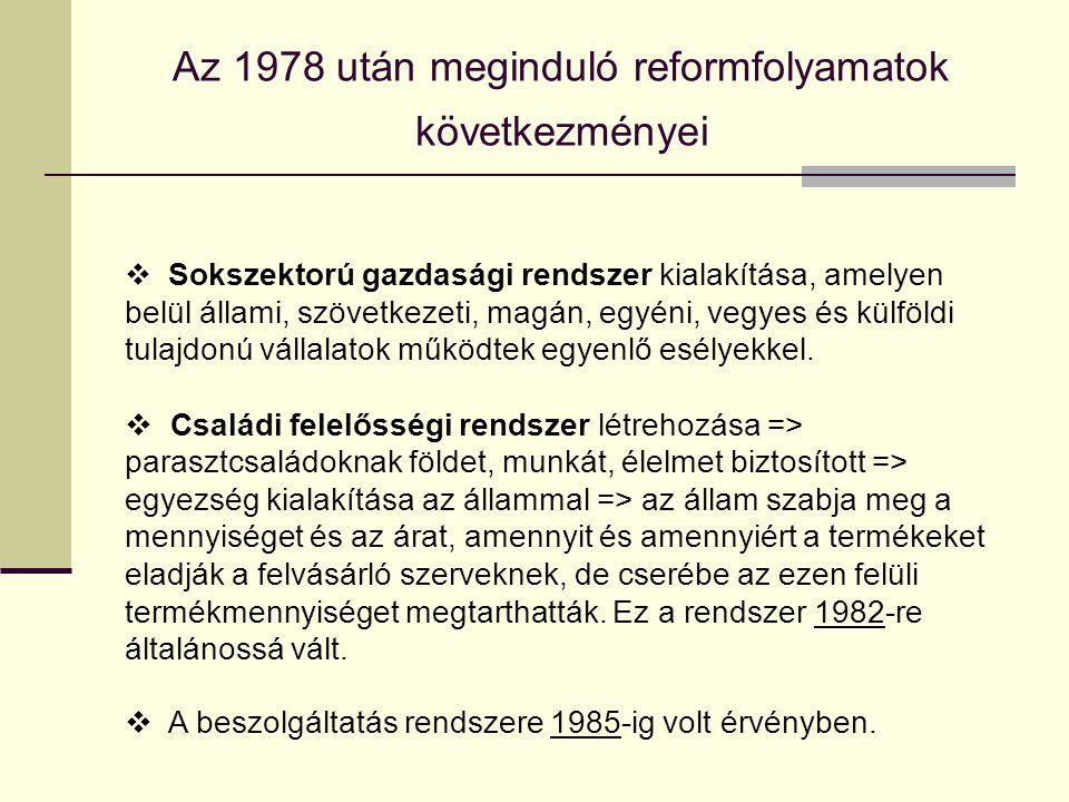Az 1978 után meginduló reformfolyamatok következményei  Sokszektorú gazdasági rendszer kialakítása, amelyen belül állami, szövetkezeti, magán, egyéni
