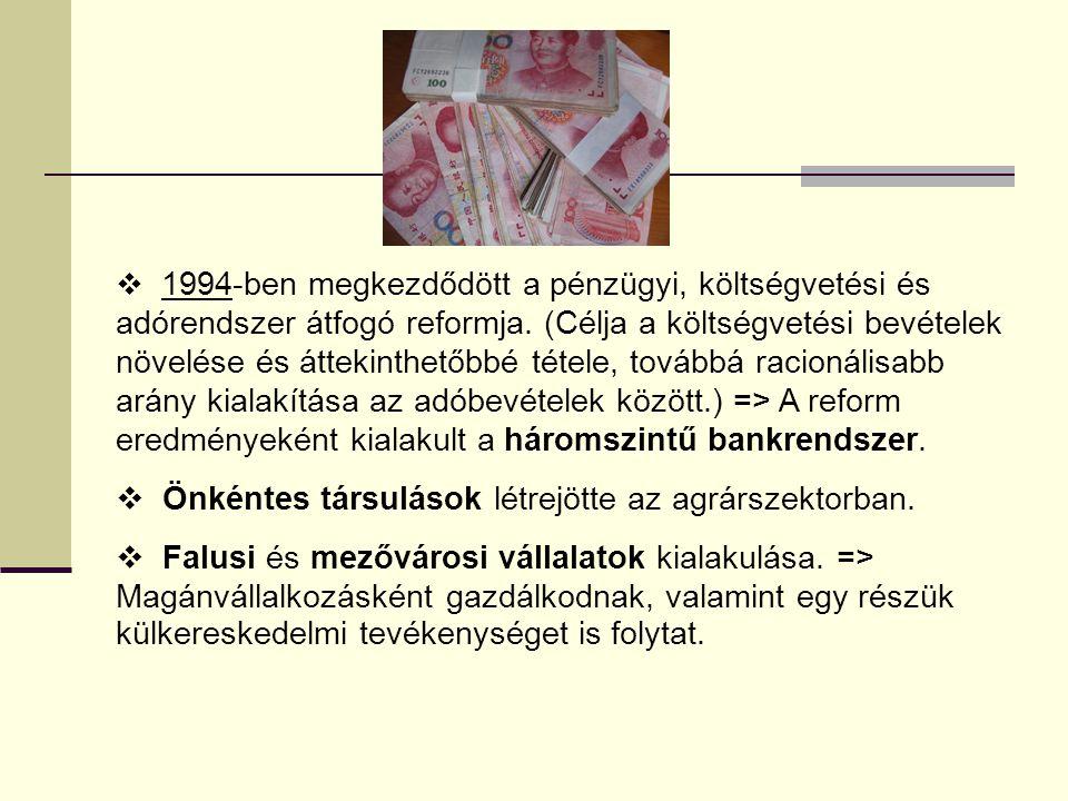  1994-ben megkezdődött a pénzügyi, költségvetési és adórendszer átfogó reformja. (Célja a költségvetési bevételek növelése és áttekinthetőbbé tétele,