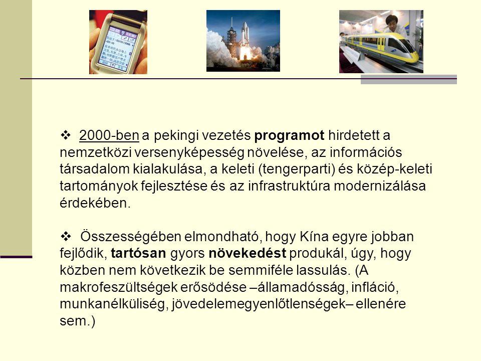  2000-ben a pekingi vezetés programot hirdetett a nemzetközi versenyképesség növelése, az információs társadalom kialakulása, a keleti (tengerparti)