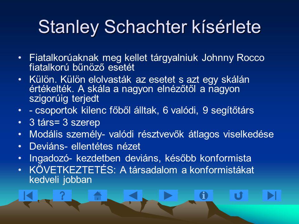Stanley Schachter kísérlete Fiatalkorúaknak meg kellet tárgyalniuk Johnny Rocco fiatalkorú bűnöző esetét Külön. Külön elolvasták az esetet s azt egy s